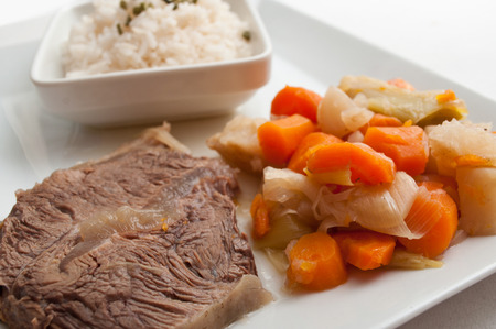 gastronomy: pot-au-feu french gastronomy with beef and rice