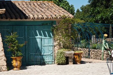mediteranean: retail of traditional mediteranean property with flowers