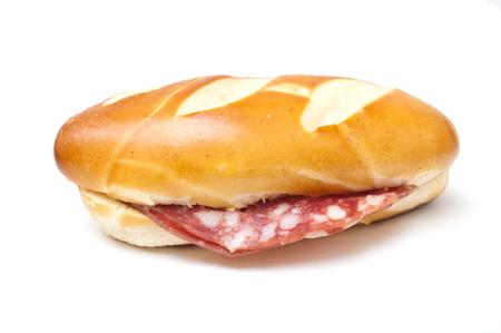 alsatian: alsatian mini sandwich  with salami on white background