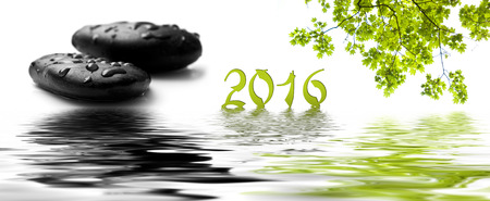 black pebbles: card happy new year 2016 with raindrops on black pebbles and maple tree in border water reflection -