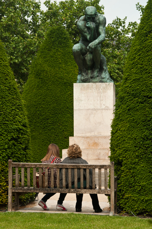 rodin: tourists in Rodin Museum in Paris Editorial