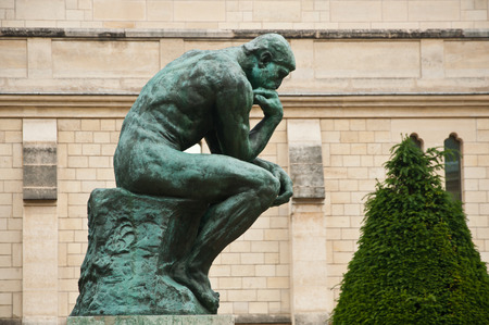naked statue: the thinking in Rodin museum in Paris - taken 14 June 2013
