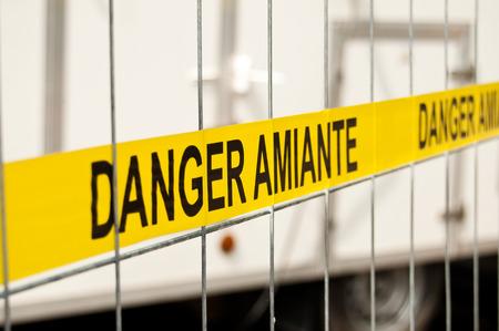 site: asbestos site sign Stock Photo