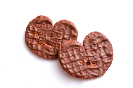 chocolate biscuit: chocolate biscuit heart shape on white background
