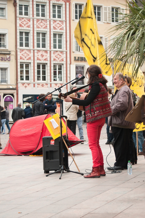 misery: MULHOUSE - France - 2 April 2016 - people with banner during the demonstration against misery and poverty - no eviction without rehousing Editorial
