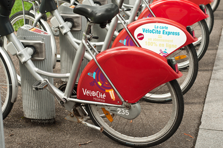ourdoor: MULHOUSE - FRANCE - 13th July 2014 - city bike for visitor Editorial