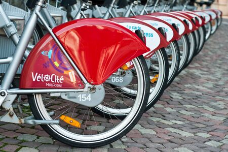 ourdoor: MULHOUSE - FRANCE - 23th July 2014 - city bike for visitor
