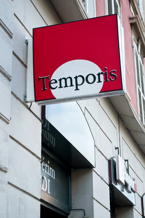 employment agency: MULHOUSE - FRANCE - 19 May 2016 - Temporis temporary employment agency signage Editorial