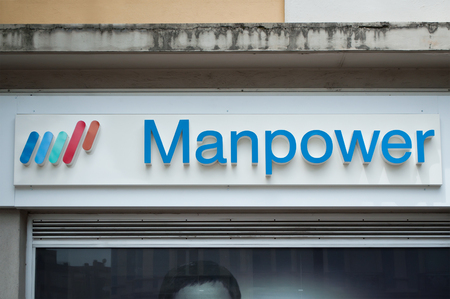 employment agency: MULHOUSE - FRANCE - 22 May 2016 - Manpowers french temporary employment agency signage