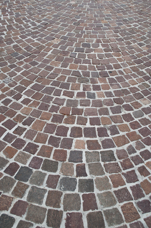 cobbles: cobbles with design in the street Stock Photo