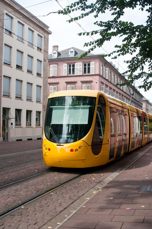 france station: MULHOUSE - France - 19 August 2016 - tramway in the street of Mulhouse