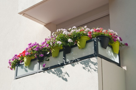 retail of balcony with flowers Stock Photo