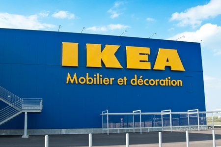 MULHOUSE - France 31 August 2016 - The Ikea logo IKEA is the worlds largest furniture retailer and sells ready to assemble furniture Editorial