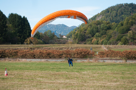 landed: THAN - France - 16 October 2016 - Paraglider just landed in a field