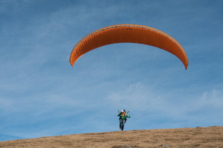 LE MARKSTEIN - France - 28 October 2016 - Paraglider takes off from the Treh runway