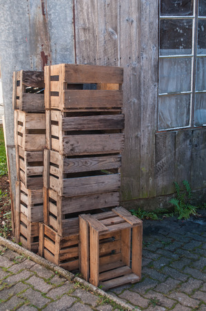 stack of vintage wooden box