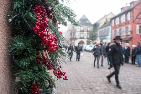 closeup of christmas decoration in Kaysersberg the typical alsatian village in France