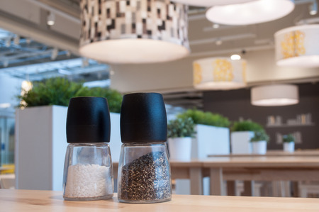 closeup of salt and pepper in the restaurant interior  Stock Photo