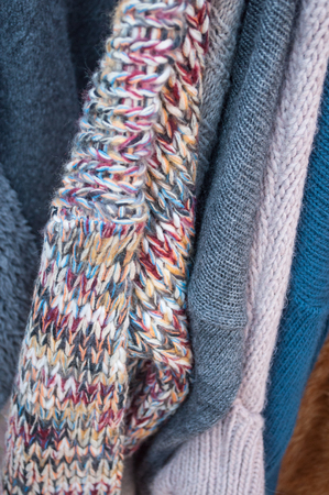 closeup of pullover in a woman fashion store Stock Photo
