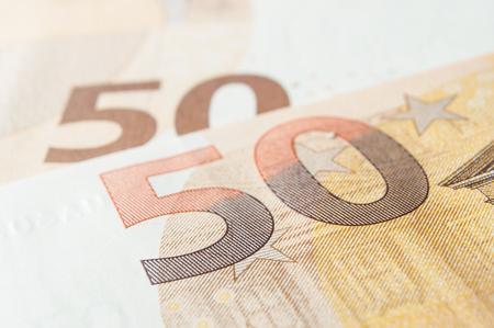 closeup of banknotes of euro money Stock Photo