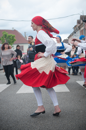BRISACH - France - 1 May 2017 - traditional Portuguese dancers at the lily of the valley party Editorial
