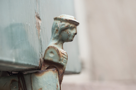 closeup of hinge on ancient wooden shutters  Stock Photo