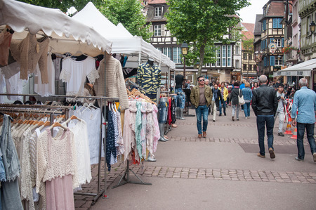 COLMAR - France - 20 MAY 2017 - view of  the market with people in the street Editorial