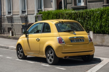 MULHOUSE - France - 8 June 2017 - fiat 500 Yellow color parked in the street