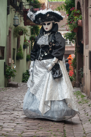 RIQUEWIHR - France - 1 July 2017 - portrait of Costumed woman at the Venetian Parade in Riquewihr in Alsace