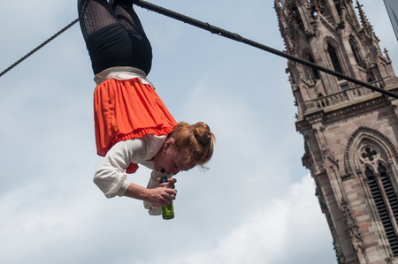 MULHOUSE - France - 15 July 2017 - tightrope walker performance during four hours in Mulhouse