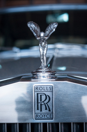 Mulhouse - France - 12 September 2017 - closeup of Rolls Royce logo on car Stock Photo - 85835729
