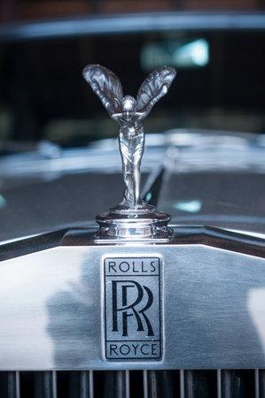 Mulhouse - France - 12 September 2017 - closeup of Rolls Royce logo on car Stock Photo - 85835729