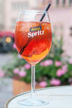 Mulhouse - France - 20 September 2017 - glass of spritz on restaurant terrace Editorial