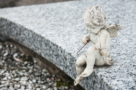 closeup of stoned angel sitting on tomb with violin in a cemetery