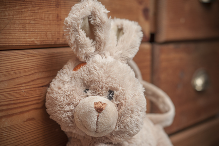 closeup of stuffed rabbit on wooden chest of drawers background  Stock Photo
