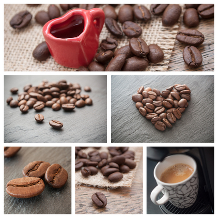 Various view of coffee situation collage background