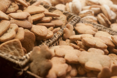 closeup of alsatian christmas biscuit at christmas market Stock Photo