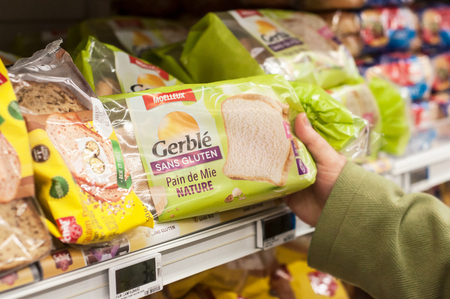 Mulhouse - France - 19 January 2018 - closeup of gluten free bread at Cora supermarket Editorial