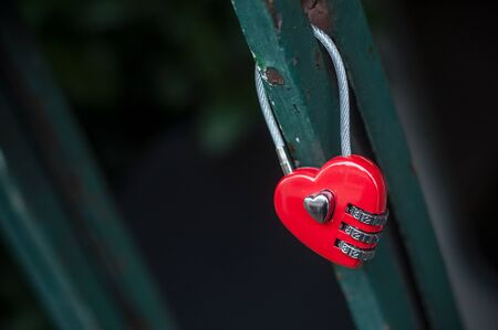 closeup of red padlock in shaped heart on metallic grid Stock Photo