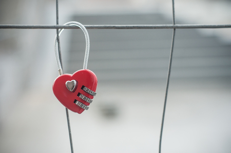 closeup of red padlock in shaped heart on metallic grid Stockfoto