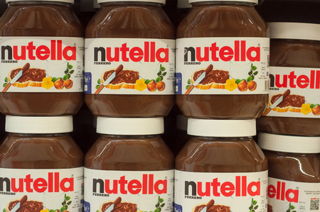 Mulhouse - France - 2nd February 2018 : Display Nutella chocolate hazelnut spread with cocoa on the shelf in Cora supermarket Editorial