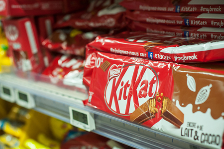 Mulhouse - France - 8 February 2018 - closeup of  chocolate bar from Kit Kat brand at Super U supermarket Editorial