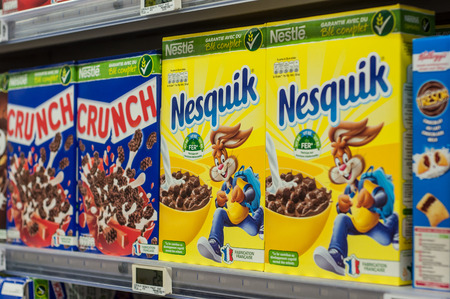 Mulhouse - France - 8 February 2018 - closeup of chocolate cereals from nestle brand at Super U supermarket Editorial