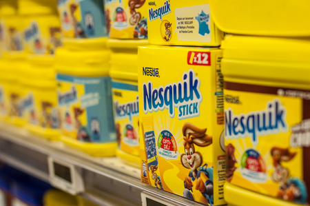 Mulhouse - France - 8 February 2018 - closeup of chocolate powder nestle brand in yellow box at Super U supermarket Editorial