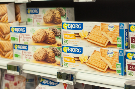 Mulhouse - France - 26 February 2018 - closeup of natural biscuits from Bjorg brand at Cora Supermarket