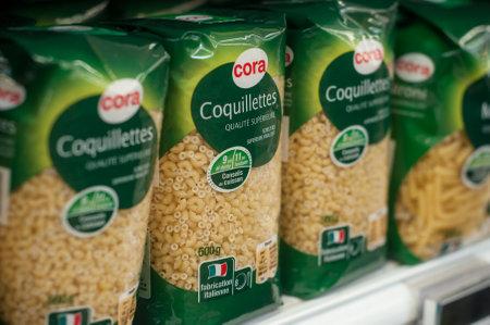 Mulhouse - France - 26 February 2018 -closeup of pasta alignment at Cora Supermarket