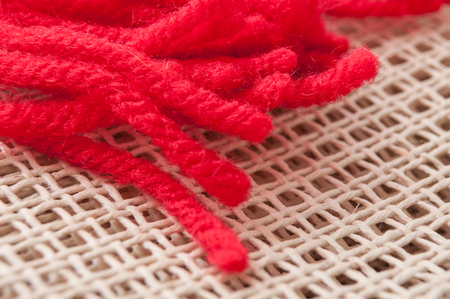 closeup of creative leisure with red wool wire on canvas