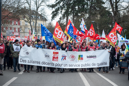Mulhouse - France - 22 March 2018 - demonstration to defend the rights of civil servants Editorial