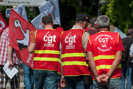 Mulhouse - France - 22 May 2018 - people from public service protesting against the lower wages and new reforms from the government