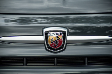 Mulhouse - France - 20 May 2018 - retail of Abarth logo on car front parked in the street Editorial